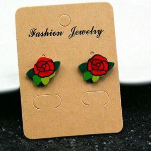 Trendy Rose Stud Earrings 1cm*0.5cm women Girl
